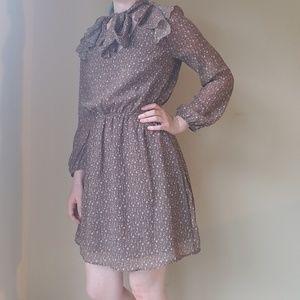 Modcloth giraffe print long sleeve ascot dress